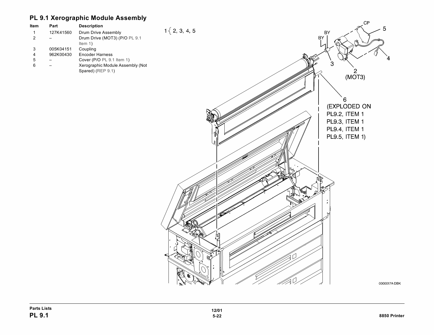Xerox WideFormat 8850 Parts List and Service Manual